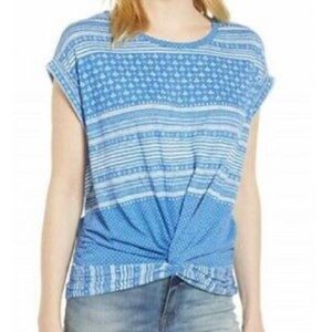 Lucky Brand Blue Patterned Twist Front Tee